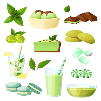 Mint food set, collection of desserts and beverages  on white,  illustration