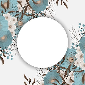 Mint green floral background flower border