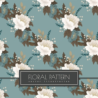 Mint green floral background seanless pattern