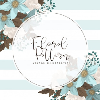 Mint green floral  circle border