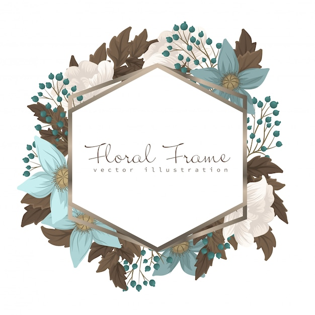 Mint green floral frame flower border