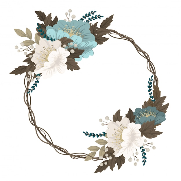 Mint green floral  wreath border