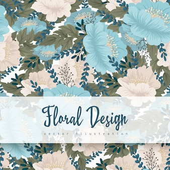 Mint green flower background seamless pattern