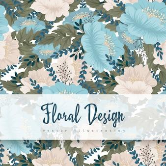 Mint green flower background seamless pattern