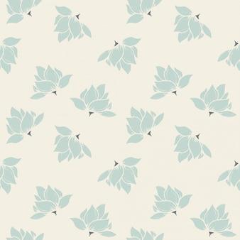 크림 배경에 민트 녹색 원활한 꽃 패턴