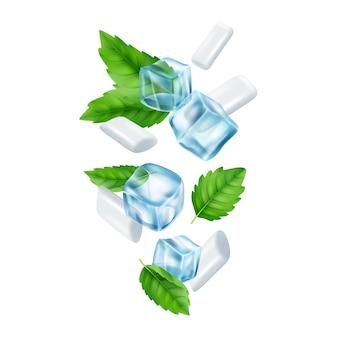 Мятная камедь и кубики льда. реалистичная иллюстрация жевательных резинок