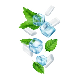 Mint gum and ice cubes. realistic fresh chewing gums illustration