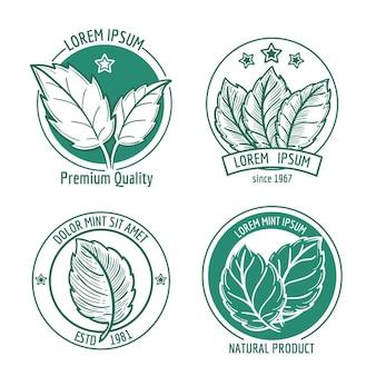 ミントの葉のロゴまたはメントールスペアミント。健康的な新鮮なハーブ、ペパーミントオーガニックバッジ