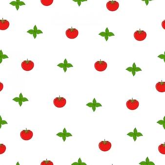 Mint leaf tomato summer market seamless pattern
