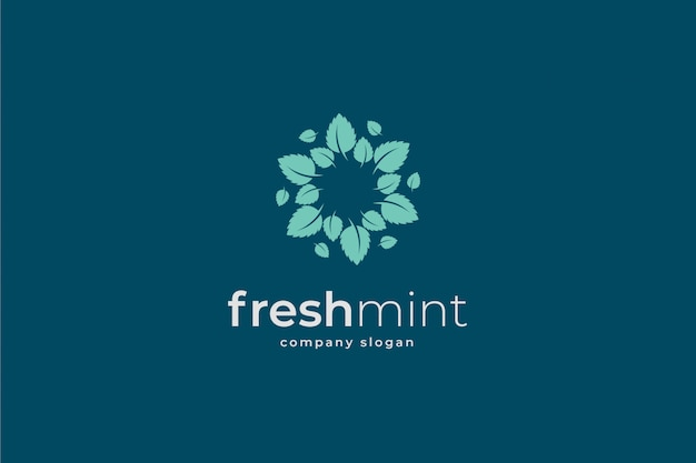 Mint leaves logo template