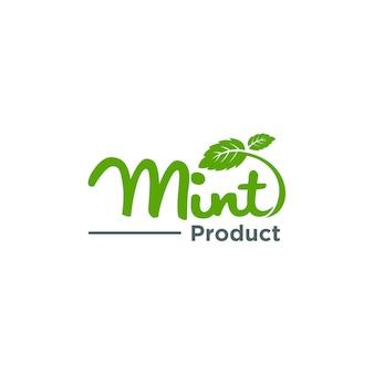 ミントの葉、オーガニックロゴのコンセプト