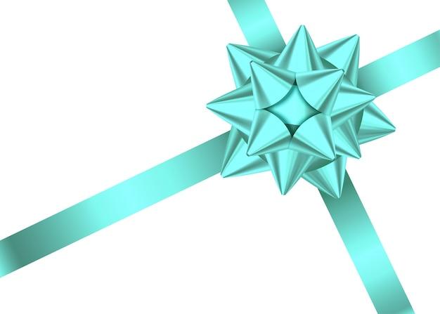 Лента и лук подарка атласа мяты изолированные на белой предпосылке. рождество, новый год, украшение на день рождения. вектор реалистичные элемент декора для баннера, поздравительной открытки, плаката.