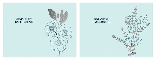 Mint and silver minimalist floral backgrounds set
