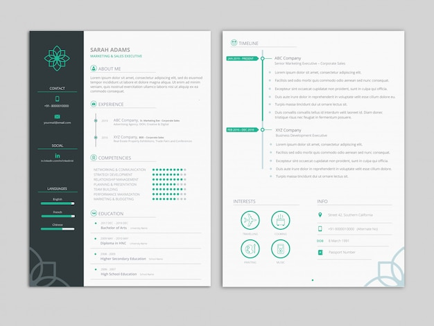 Mint theme resume template