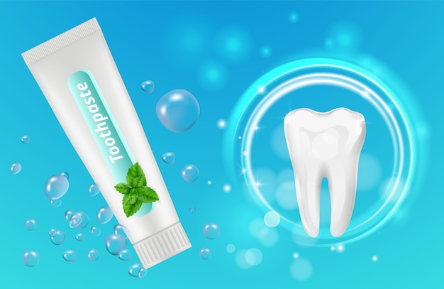 Mint toothpaste background. dental poster design. realistic toothpaste tube and teeth. illustration toothpaste mint and tooth
