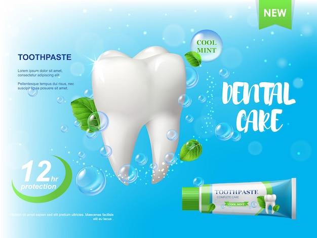 Зубная паста мяты, плакат белый здоровый зуб. листья мяты колючей, пузырьки воды и тюбик с пастой
