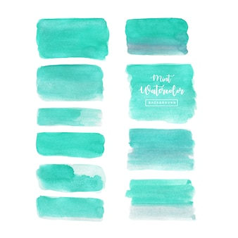 Mint watercolor brush set isolated