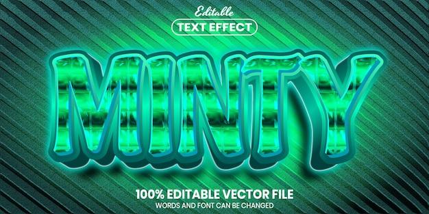 ミントテキスト、フォントスタイルの編集可能なテキスト効果
