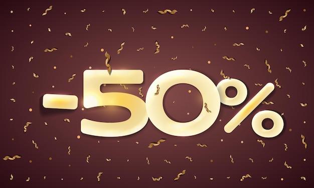 Minus percent sale vector flat banner concept on dark background