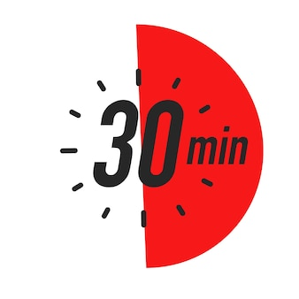 Minutes timer symbol color style isolated on white background clock stopwatch cooking time label