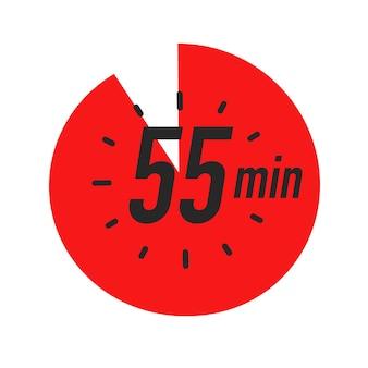 Минут таймер символ красный цвет стиль изолированные на белом фоне часы секундомер время приготовления