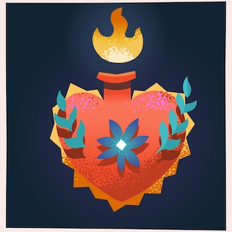 Чудо пылающее сердце религиозный символ любви в мексиканской культуре векторные иллюстрации