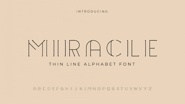 Miracle thin line alphabetフォント