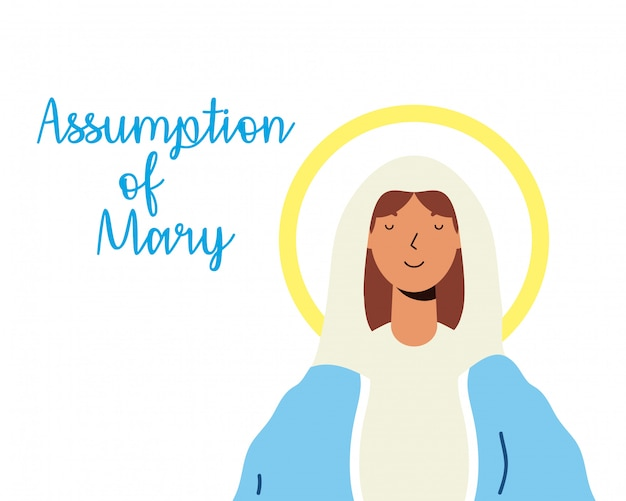 Miraculous virgin assumption of mary with lettering