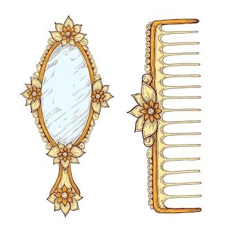 빈티지 스타일의 거울과 빗