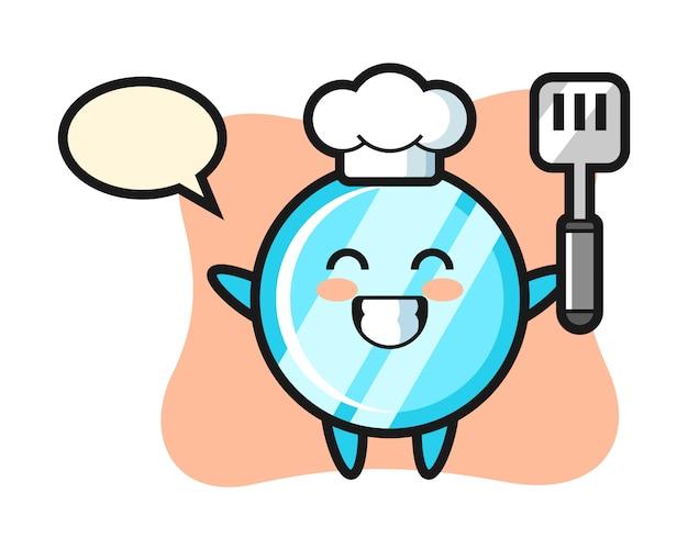 요리사가 요리하는 거울 캐릭터 일러스트