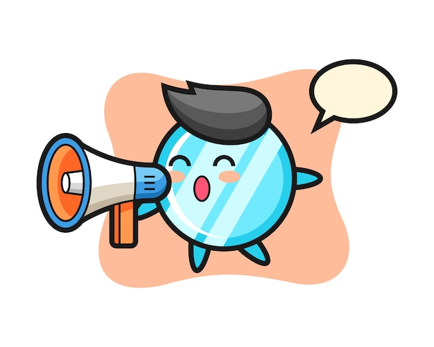 Mirror character illustration holding a megaphone