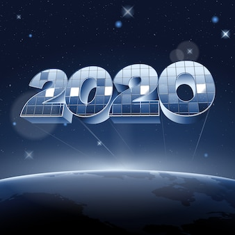 Mirror digits 2020 in space above planet earth.