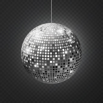Mirror disco ball. soffit reflection ball mirrored disco party silver glitter equipment retro rays shining mirrorball