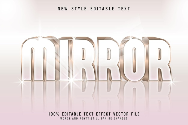 Mirror editable text effect 3 dimension emboss luxury style