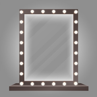 Mirror in frame with bulb lights. makeup mirror  illustration.