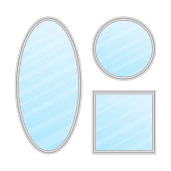 ミラーフレームまたはミラー装飾インテリア。現実的なミラーセット。ストックイラスト。