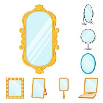 ミラーガラス漫画のアイコンを設定します。化粧用の隔離されたイラスト家具。トイレミラーのアイコンセット。