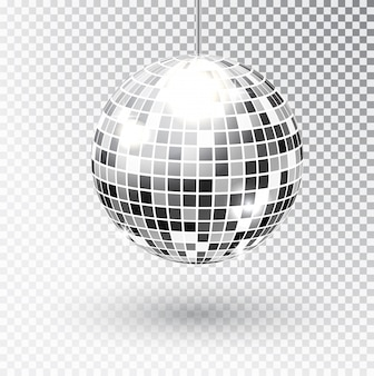 Mirror glitter disco ball vector illustration. night club party light element. bright mirror silver ball design for disco dance club. vector