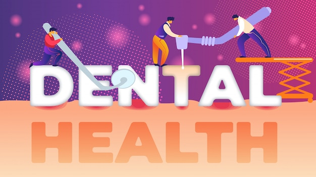 Mirror inscription dental health banner flat.