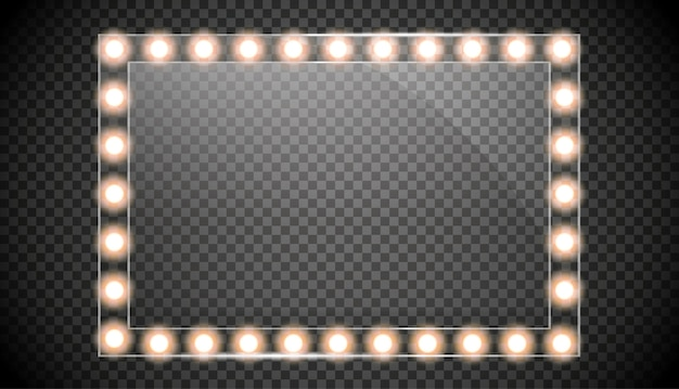 金色のライトで隔離されたミラー。正方形のフレームの図。