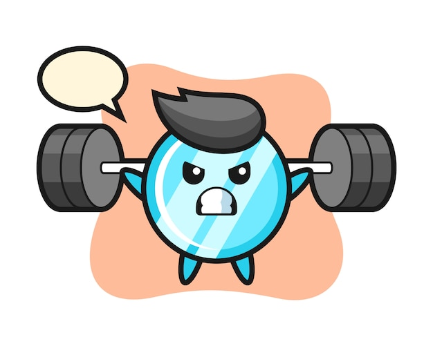 Mirror mascot cartoon with a barbell