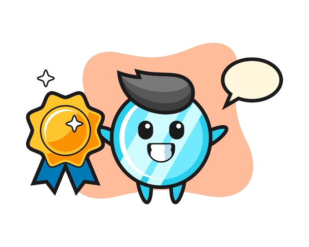 Mirror mascot illustration holding a golden badge