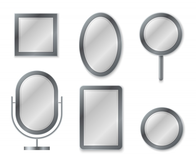 Mirror set. mirroring reflection surface realistic blank mirrors glass decor frame interior decoration vintage image