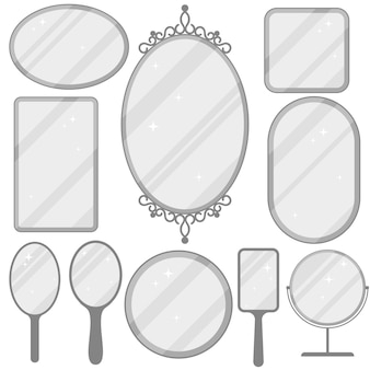 Mirror set, realistic mirrors frame collection, different forms with reflection, round, rectangular, ellipse.