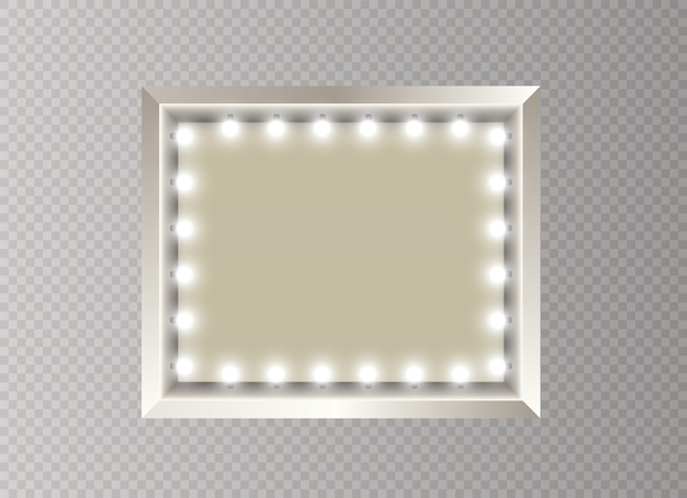 Mirror with light fame. rectangle.