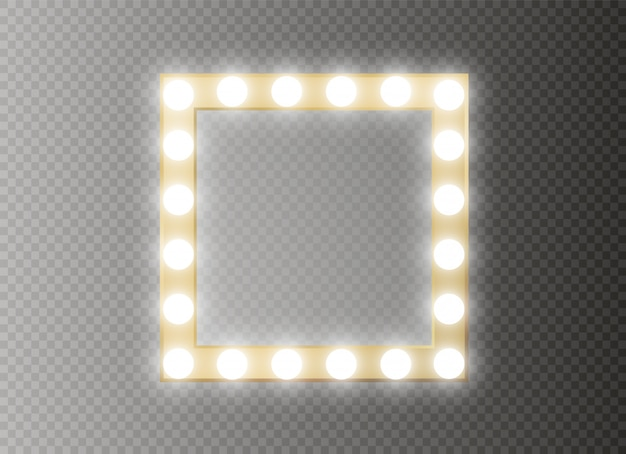 Mirror with light fame. square.