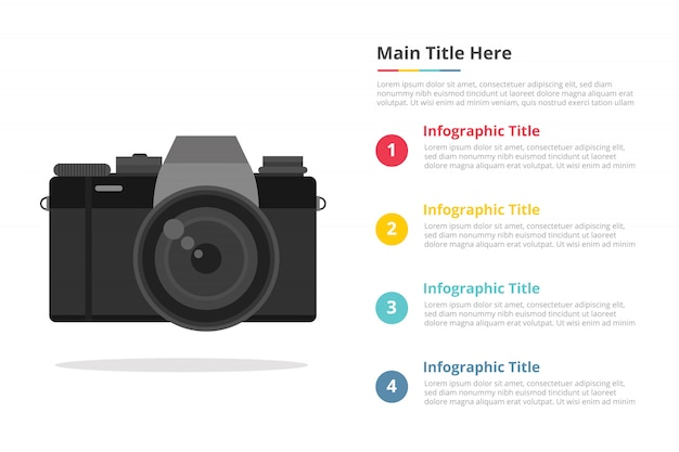 Mirrorless camera infographic template with 4 points