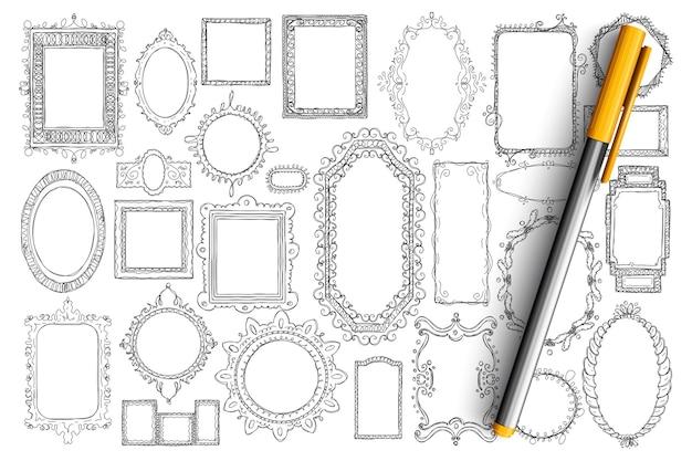 ミラーとフレームの落書きセット。分離されたさまざまなスタイルや形の手描きのエレガントなヴィンテージミラーのコレクション。