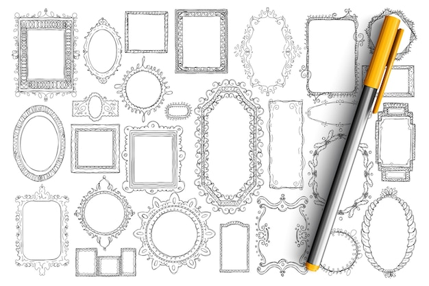 Mirrors and frames doodle set. collection of hand drawn elegant vintage mirrors of different styles and shapes isolated.