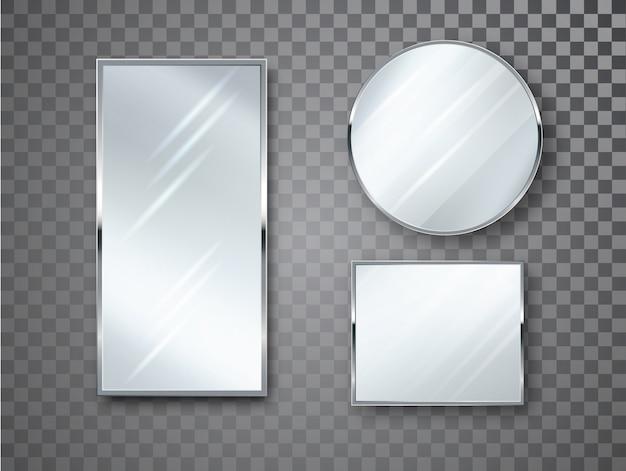 ぼやけた反射で分離されたミラーセット。ミラーフレームまたはミラー装飾インテリアのリアルなイラスト